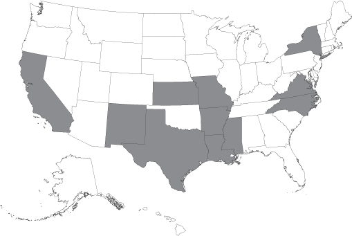 Map of Licensed States